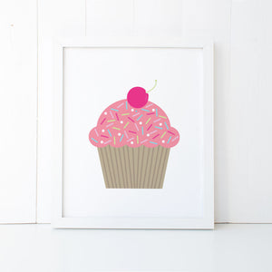 Print - Pink Cupcake Wall Art Print by Mum and Me Handmade Designs - An Australian Stationery Online Shop