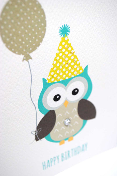 Boy Party Owl with Balloon-Greeting Card-mumandmehandmadedesigns