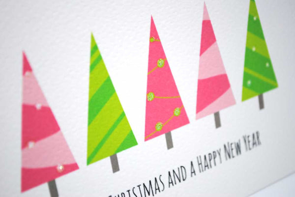 Pink Green Christmas Trees Greeting Card by mumandmehandmadedesigns- An Australian Online Stationery and Card Shop