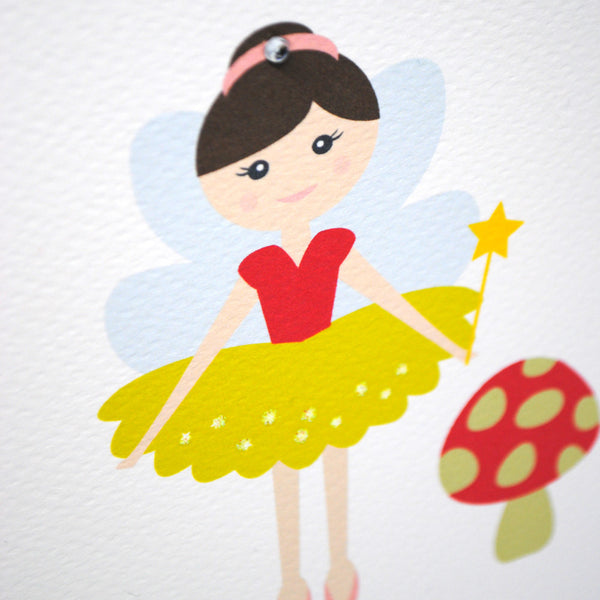 Fairy with Toadstool-Greeting Card-mumandmehandmadedesigns