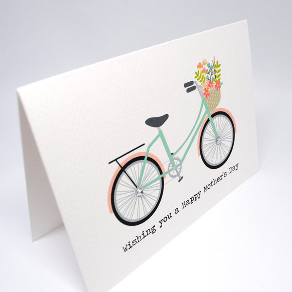 Mint and Coral Bicycle Greeting Card by mumandmehandmadedesigns- An Australian Online Stationery and Card Shop