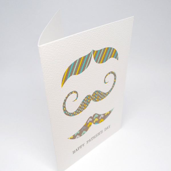 Geo Moustaches Greeting Card by mumandmehandmadedesigns- An Australian Online Stationery and Card Shop