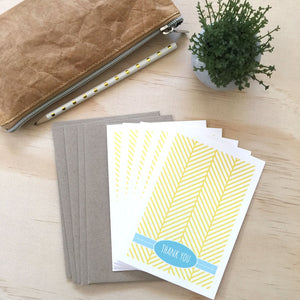 Set of 5 - Yellow Herringbone Greeting Cards by mumandmehandmadedesigns- An Australian Online Stationery and Card Shop