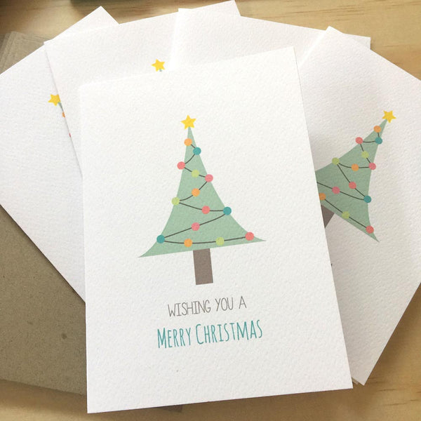 Set of 5 - Christmas Tree Greeting Cards by mumandmehandmadedesigns- An Australian Online Stationery and Card Shop