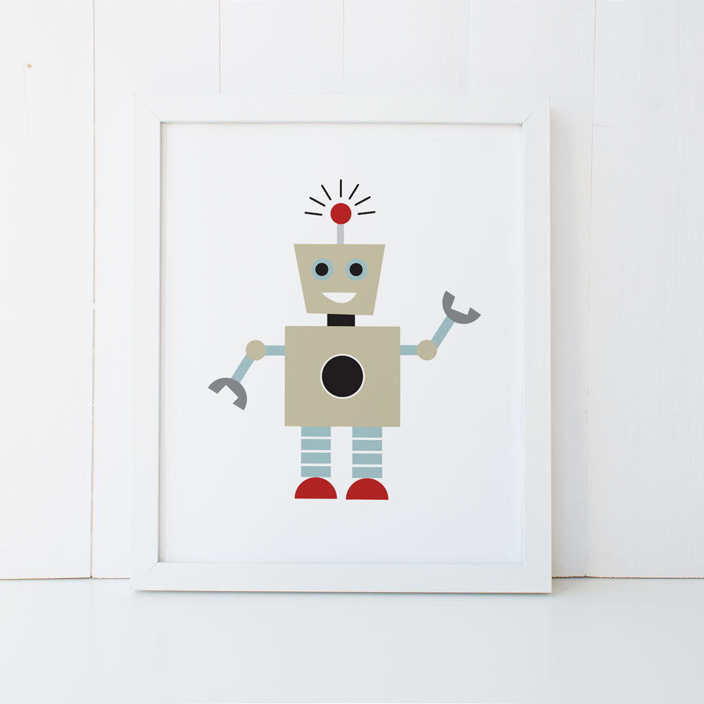 Print - Boys Robot Wall Art Print by mumandmehandmadedesigns- An Australian Online Stationery and Card Shop