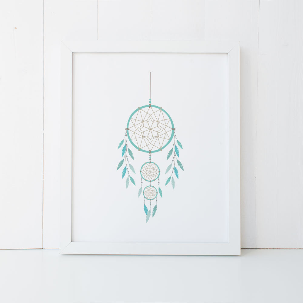 Print - Dreamcatcher Wall Art Print by mumandmehandmadedesigns- An Australian Online Stationery and Card Shop