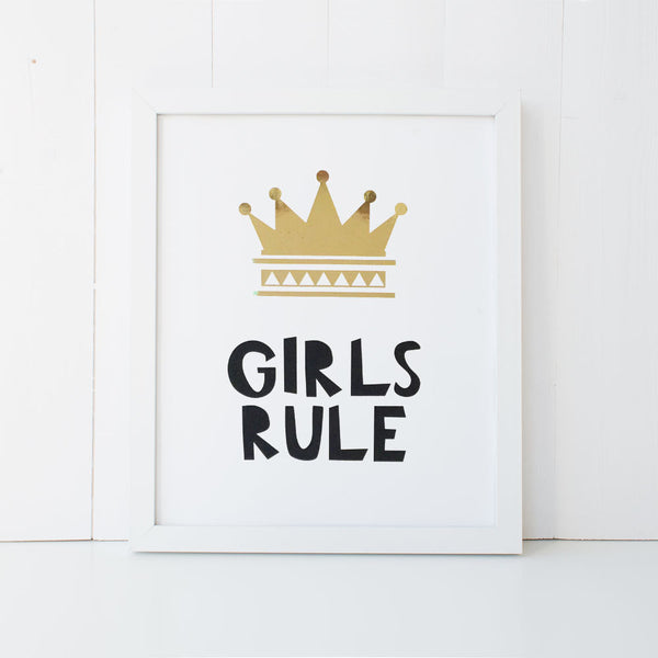 Print - Girls Rule Wall Art Print by mumandmehandmadedesigns- An Australian Online Stationery and Card Shop