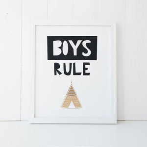 Print - Boys Rule Teepee Wall Art Print by Mum and Me Handmade Designs - An Australian Stationery Online Shop