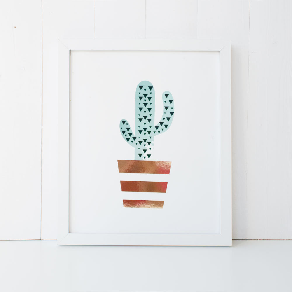 Print - Cactus in Copper Pot Wall Art Print by mumandmehandmadedesigns- An Australian Online Stationery and Card Shop