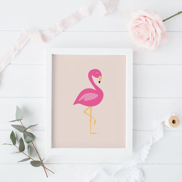 Print - Pink Flamingo Wall Art Print by mumandmehandmadedesigns- An Australian Online Stationery and Card Shop