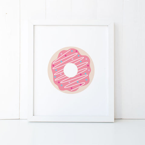 Print - Pink Donut Wall Art Print by Mum and Me Handmade Designs - An Australian Stationery Online Shop