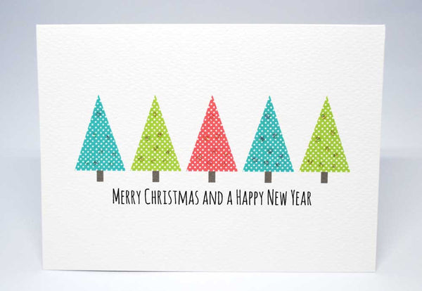 Polkadot Christmas Trees Greeting Card by mumandmehandmadedesigns- An Australian Online Stationery and Card Shop