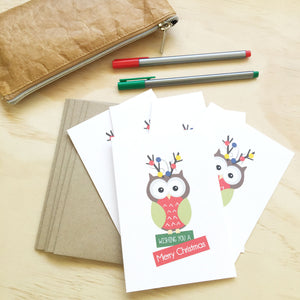 Set of 5 - Owl with Lights Greeting Cards by mumandmehandmadedesigns- An Australian Online Stationery and Card Shop