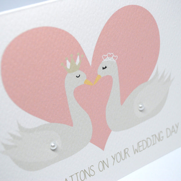 2 Swans with Heart Greeting Card by mumandmehandmadedesigns- An Australian Online Stationery and Card Shop