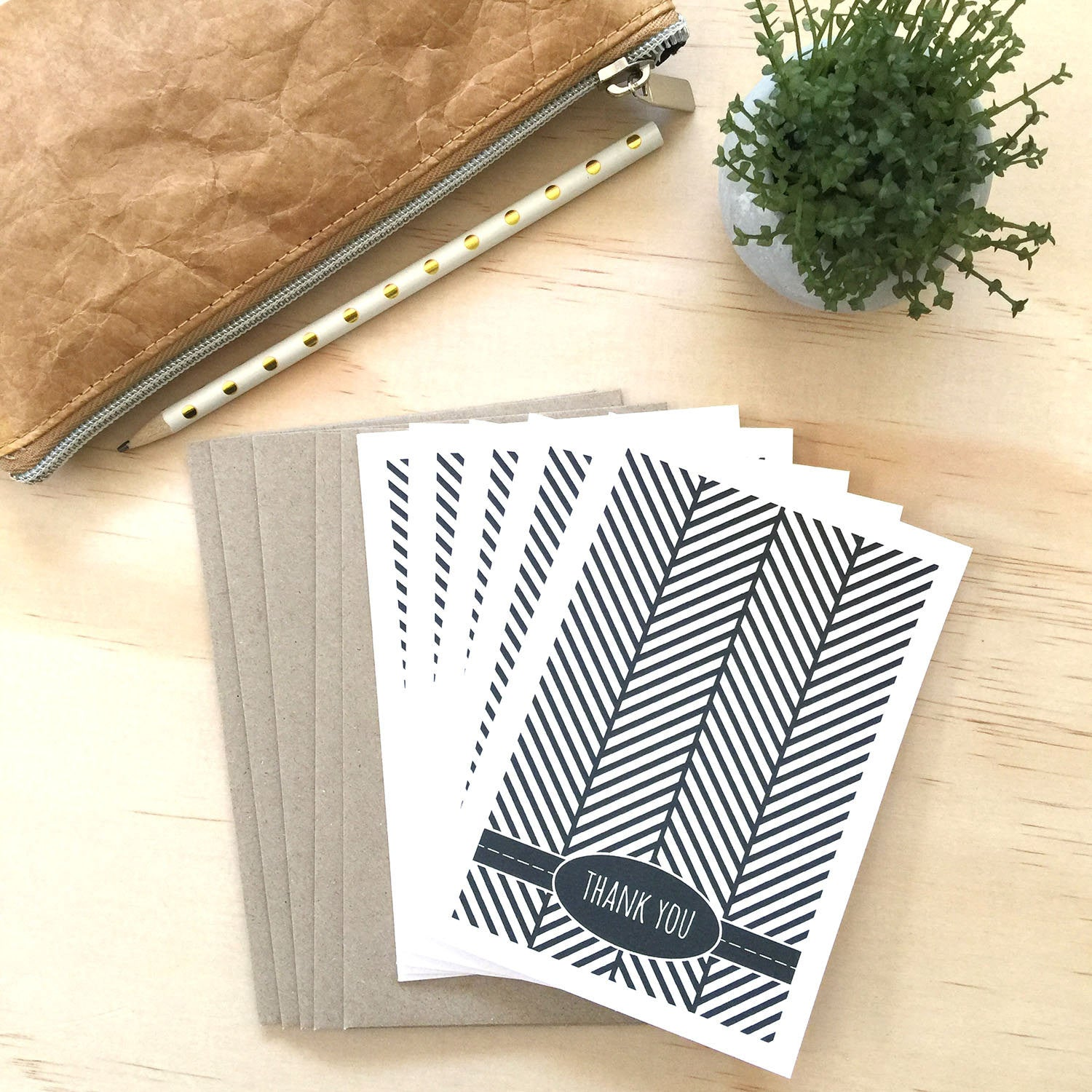 Set of 5 - Black Herringbone Greeting Cards by mumandmehandmadedesigns- An Australian Online Stationery and Card Shop