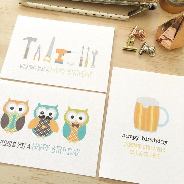 Set of 3 - Male Greeting Cards by mumandmehandmadedesigns- An Australian Online Stationery and Card Shop