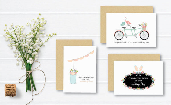 Set of 3 - Wedding Greeting Cards by mumandmehandmadedesigns- An Australian Online Stationery and Card Shop