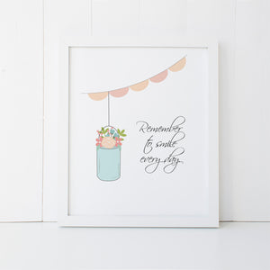 Print - Mason Jar - Smile Wall Art Print by Mum and Me Handmade Designs - An Australian Stationery Online Shop