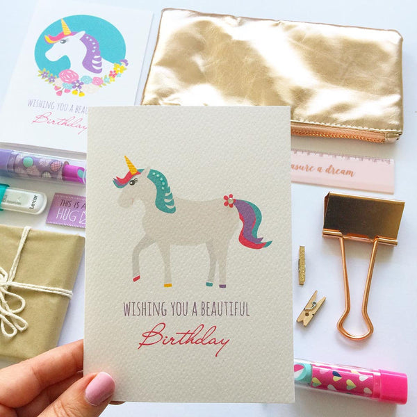Unicorn Greeting Card by mumandmehandmadedesigns- An Australian Online Stationery and Card Shop
