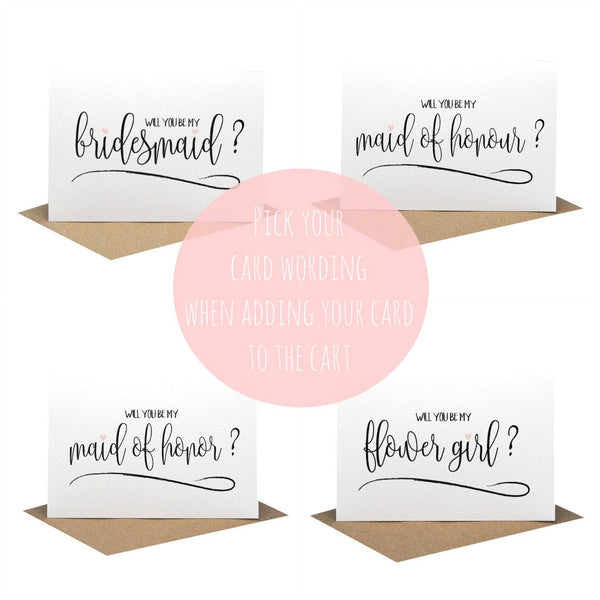 Bridesmaid Script-Greeting Card-Mum and Me Handmade Designs