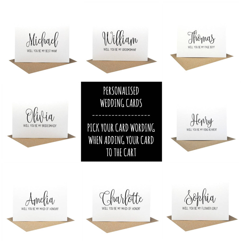 Personalised will you be my bridesmaid card wedding card black bridesmaid card script greeting card by mumandmehandmadedesigns an australian online stationery and card shop kristyandbryce Images
