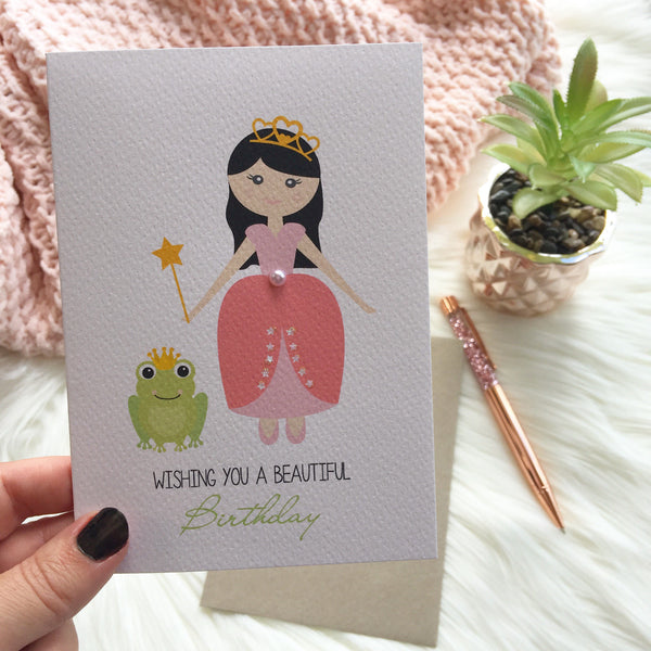 Princess with a Wand and Frog Greeting Card by mumandmehandmadedesigns- An Australian Online Stationery and Card Shop