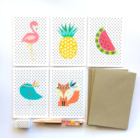 Set of 5 - Blank Spotty Greeting Cards by mumandmehandmadedesigns- An Australian Online Stationery and Card Shop
