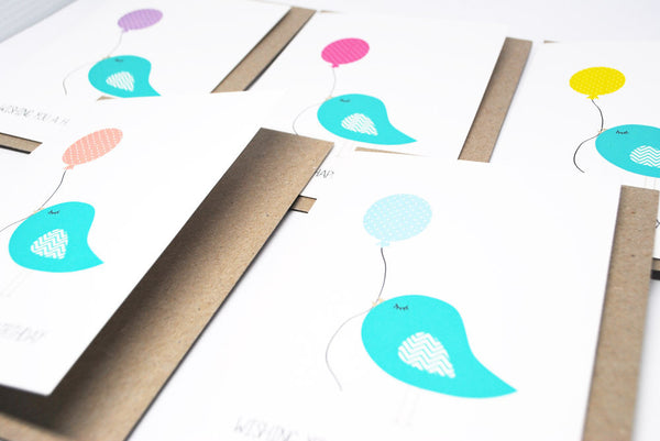 Set of 5 - Birdies Balloons Greeting Cards by mumandmehandmadedesigns- An Australian Online Stationery and Card Shop
