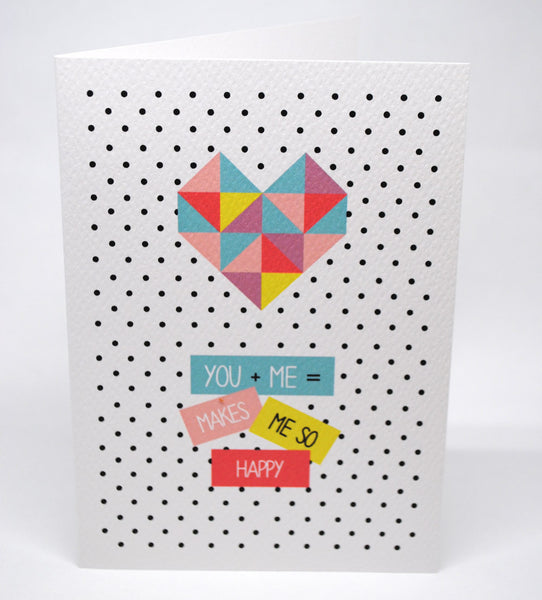 Heart You and Me Greeting Card by mumandmehandmadedesigns- An Australian Online Stationery and Card Shop