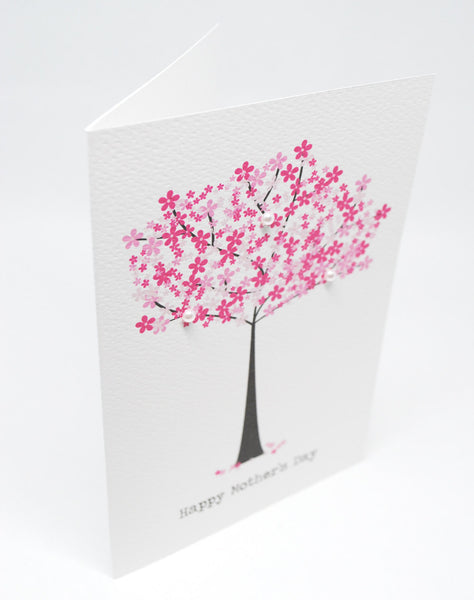 Cherry Blossom Tree Greeting Card by mumandmehandmadedesigns- An Australian Online Stationery and Card Shop