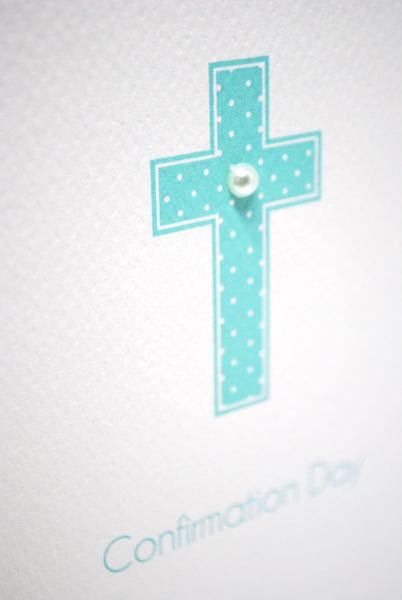 Confirmation Blue Cross Greeting Card by mumandmehandmadedesigns- An Australian Online Stationery and Card Shop