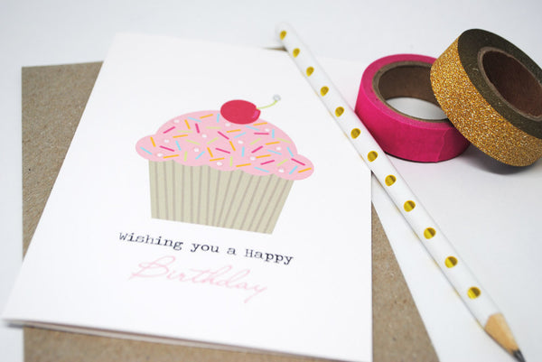 Cupcake with Cherry Greeting Card by mumandmehandmadedesigns- An Australian Online Stationery and Card Shop