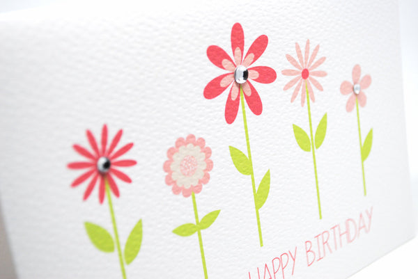 Pink Flowers with Stems Greeting Card by mumandmehandmadedesigns- An Australian Online Stationery and Card Shop