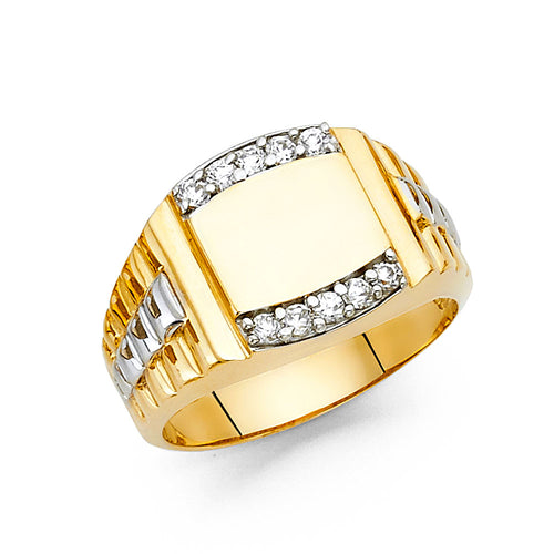 Two Tone Groove Diamond Ring