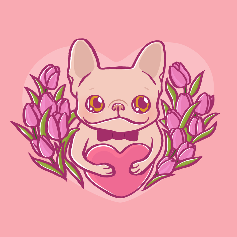 Cute French Bulldog with love
