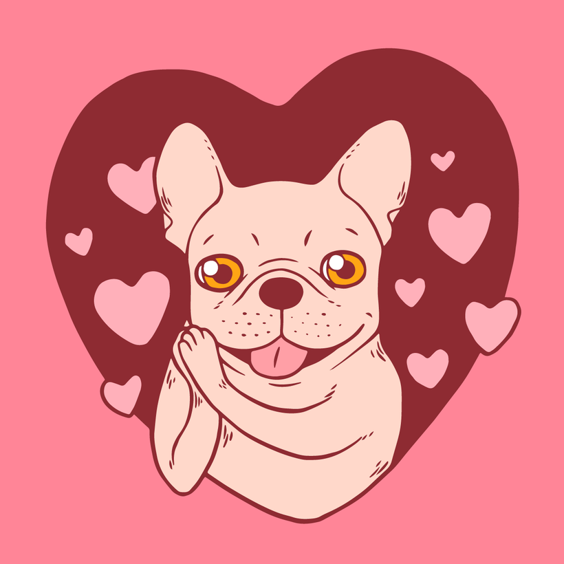 French Bulldog Sharing Love and Passion with All Her Heart