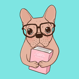 Cute Frenchie loves to read good books