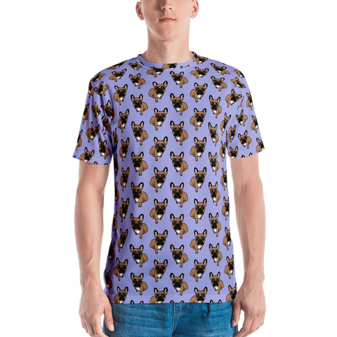 Be nice to the cute black mask fawn Frenchie Men's T-shirt by Emotional Frenchies