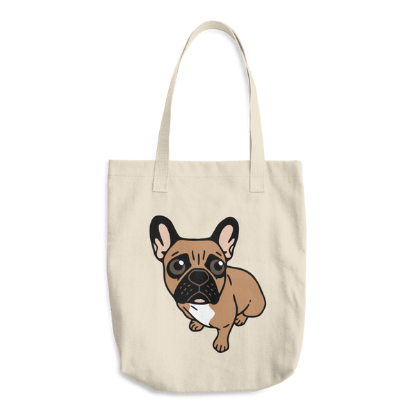Be nice to the cute black mask fawn Frenchie Cotton Tote Bag by Emotional Frenchies