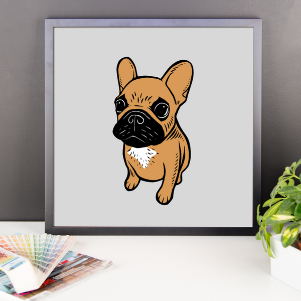 Black mask fawn Frenchie Puppy Framed poster by Emotional Frenchies
