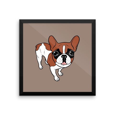 Black Mask Red Pied French Bulldog Framed photo paper poster by Emotional Frenchies