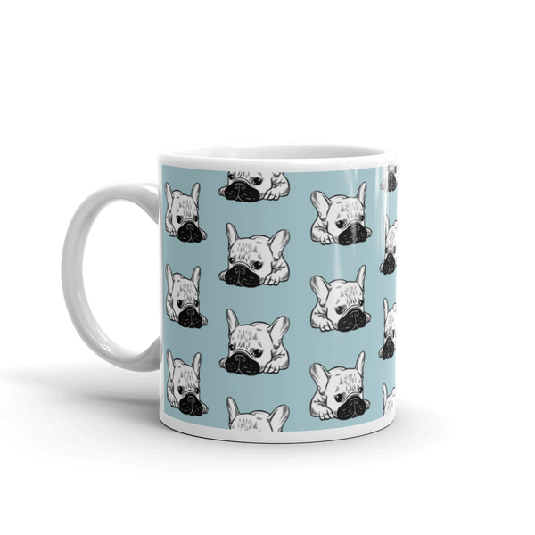Black Mask Cream Frenchie Illustration Mug made in the USA by Emotional Frenchies
