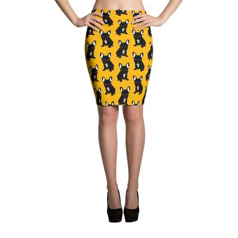 Brindle French Bulldog Puppy Pencil Skirt by Emotional Frenchies
