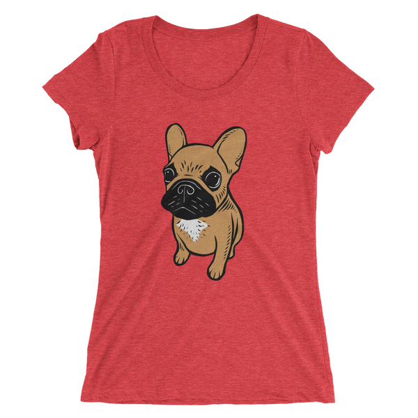 Black mask fawn Frenchie Puppy Ladies' short sleeve t-shirt by Emotional Frenchies