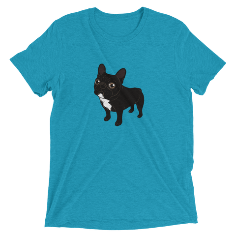 Brindle Frenchie likes to go for a walk to meet some friends Short sleeve t-shirt by Emotional Frenchies