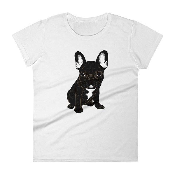 Brindle French Bulldog Puppy Women's short sleeve t-shirt by Emotional Frenchies