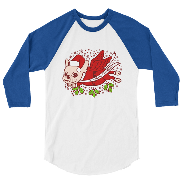 Christmas with a cute Frenchie 3/4 sleeve raglan shirt by Emotional Frenchies