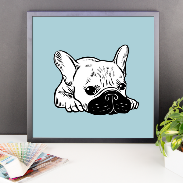Black Mask Cream Frenchie Illustration Framed photo paper poster by Emotional Frenchies