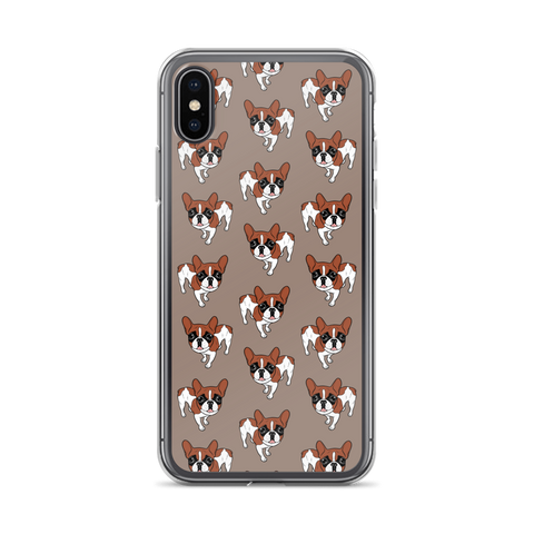 Black Mask Red Pied French Bulldog iPhone Case