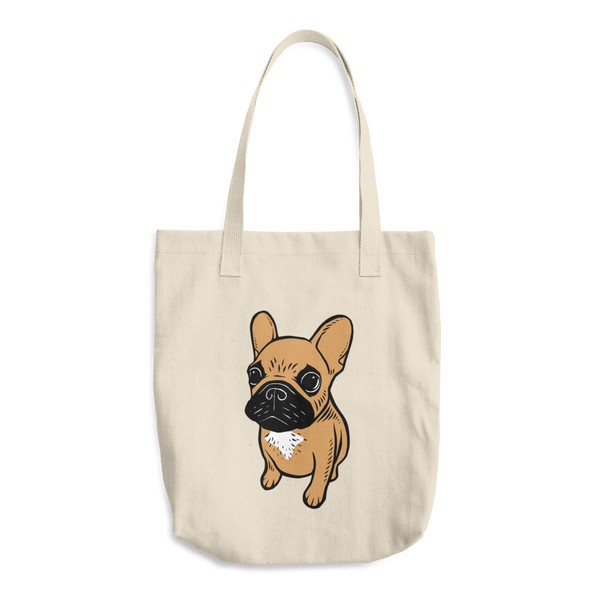 Black mask fawn Frenchie Puppy Cotton Tote Bag by Emotional Frenchies